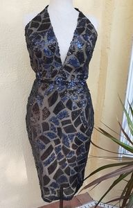 NEW Rubber Docky Holter Backless Black Sequin Gown